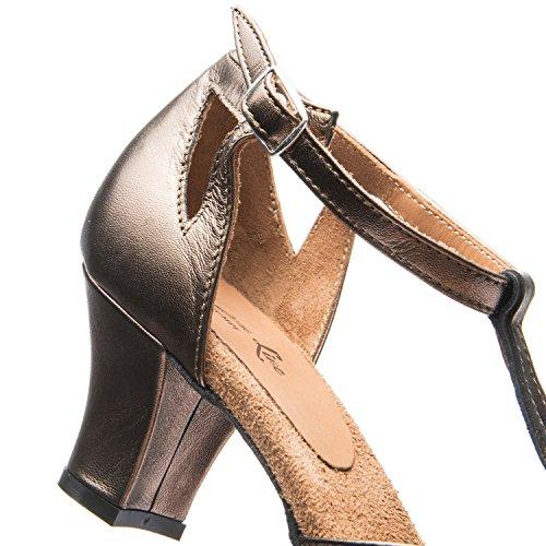 Baile Tacón 9210 Balboa Cromo De Zapatos En Bronce Salsa Tango Mujer Latino Rumba Salón Rumpf Suela Italia Cuero ¡hechos 5 Cm 6EdAxnwqI6