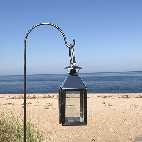 Whole House Worlds The Crosby Street Hurricane Candle Lantern And Garden Stake, Tealight Candle Holder, Polished Stainless Steel, Glass Panels, 45 Inches Tall, By