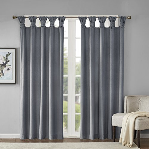 (JLA Home INC Sonnet Printed Poly Velvet Twisted Top Panel Charcoal 50x95)