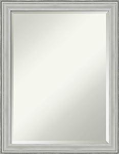 Amanti Art Framed Vanity Mirror   Bathroom Mirrors for Wall   Bel Volto Silver Mirror Frame   Solid Wood Mirror   Medium Mirror   27.00 x 21.00 in.