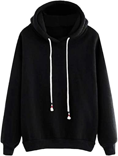 Women Hoodie Hooded Sweatshirt Crop Top Sweater Long Sleeve Pullover Jumper UK