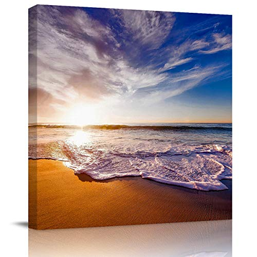 SUN-Shine Canvas Wall Art Oil Painting Prints Stretched and Framed, Abstract Landscape with Sea and Beach at Sunset Wall Artworks Picture for Living Room Kitchen Bedroom Decoration, 16X16Inch -