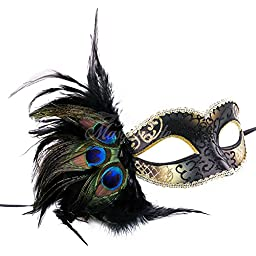 Venetian Peacock Feather Mask - Black and Gold
