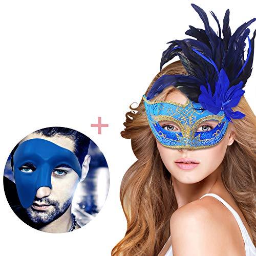 Coxeer Couple Masquerade Mask Venetian Halloween Costume Mardi