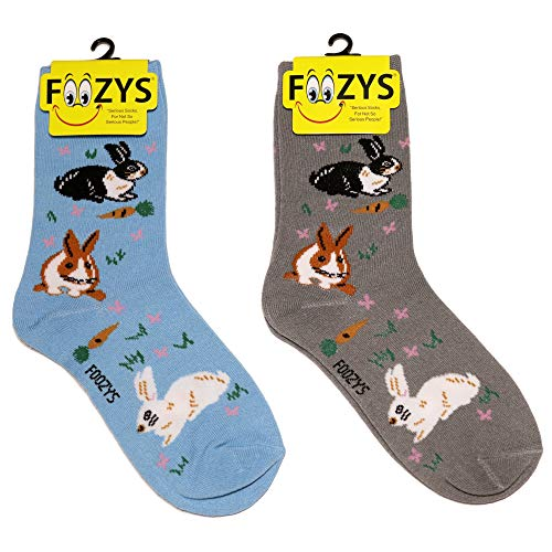 (Foozys Women's Crew Socks | Bunnies Cute Farm Animal Novelty Socks | 2 Pair)