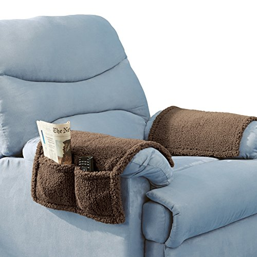 Armchair Covers Pockets Set Brown