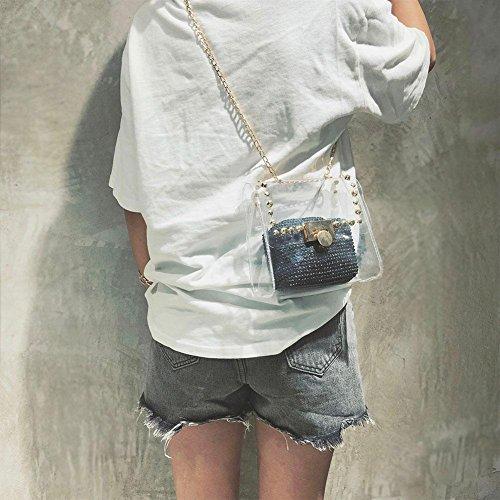 Mode de Sac Bandoulière Noir Paille Transparents Plage Rivets Femme pour d'épaule Sacs Demiawaking à PVC fille Tissé Main gwn0HqqYd