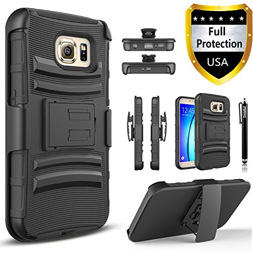 Circlemalls Dual Layers [Combo Holster] and Built-in Kickstand Phone Case Compatible for Samsung Galaxy S6 Edge Plus Case, [NOT FIT Galaxy S6, S6 Edge],Shockproof and Stylus-Black