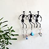 Chinhhari Arts, Original Creative Wrought Iron Tribal Dance Key Chain Holder for Entryway, Kitchen, Office, Living Room, Wall Decor Art - Wall Mount (8 X 10 X 1 inch)