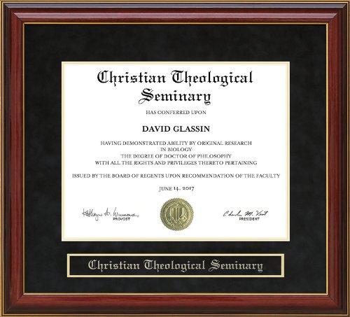 Christian Theological Seminary (CTS) Diploma Frame - Mahogany by Wordyisms