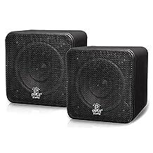 Pyle-Home Pcb4bk 4-Inch 200-Watt Mini Cube Bookshelf Speaker (Black)