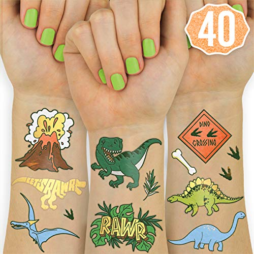 xo, Fetti Dinosaur Temporary Tattoos for Kids - 40 Styles | Birthday Party Supplies, Dinosaur Party Favors, T-rex Decorations -