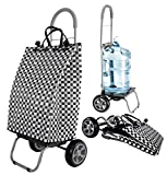 Trolley Dolly Basket Weave Tote, Black Shopping Grocery Foldable Cart Picnic Beach