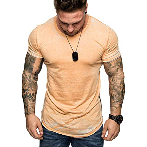 XQXCL Men's Tshirts Tops for Men Fashion Summer Tee Shirts Slim Fitness Casual Fit Active Sport Short Sleeves T-Shirts Orange