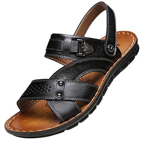 Vocni Hombres Casual De Cuero Al Aire Libre Comodidad Zapatos De Verano Para Hombres Sandalias Negro