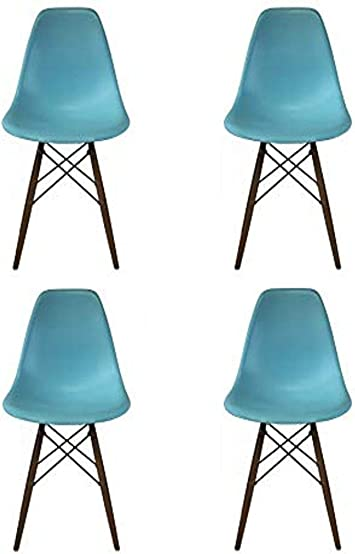 Blue Take Me Home Furniture Eames Style Side Chair with Walnut Wood Legs Eiffel Dining Room Chair