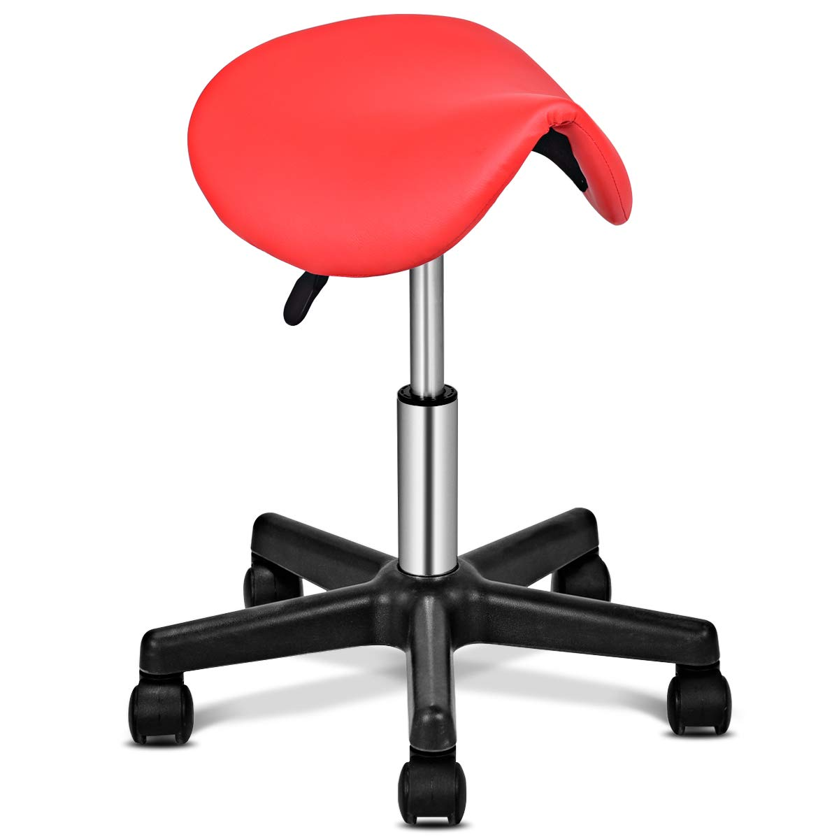 Giantex Saddle Stool Salon Hydraulic Spa Rolling Chair, No Backrest Rolling Clinic Spa Massage Stools Chairs for Spas Beauty Salons Office Massage Tattoo Facial Salon Stool with Wheels Red