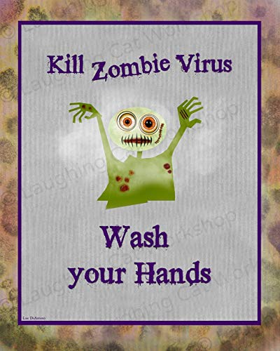Funny Zombie Bathroom decor Zombies art print Back to School Nurse Teachers doctors office decor Apocalypse Wash Your hands Health Education Poster for Kids Halloween Zombie Virus -