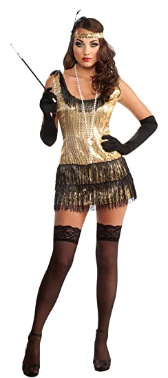 amazoncom rubies costume deluxe adult gold sequin flapper dress clothing