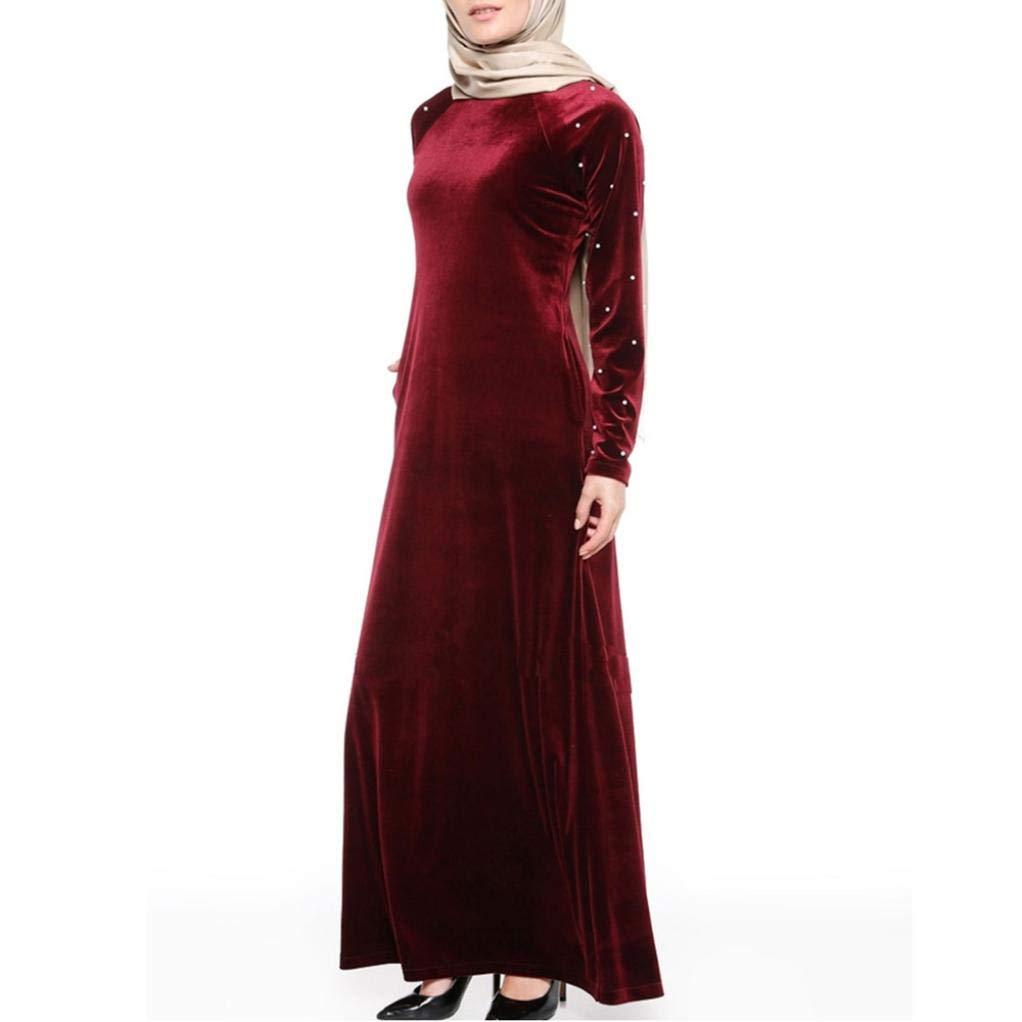 Fiesta Vestir Ropa Falda Mujer Otoño,Vestido musulmán de Las Mujeres Musulmanes Que rebordea el Traje Largo del Terciopelo del tamaño Medio de la Bata de ...
