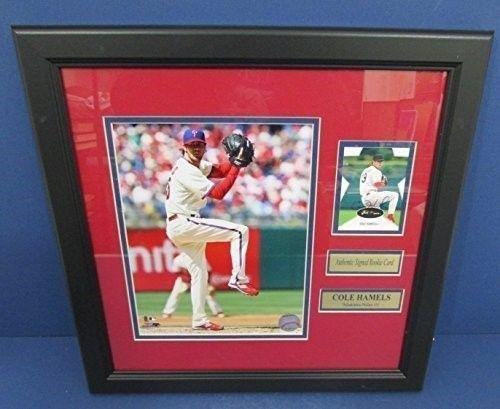 Cole Hamels Philadelphia Phillies Signed/Framed Rookie Card w/Photo 126805 - Baseball Slabbed Autographed Rookie Cards