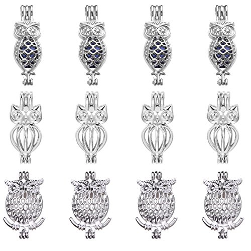 12pcs Mixed Owl Rhodium Plated Hollow Pendants Pearl Bead Cage Pendant Essential Oil Scent Diffuser Pendant Necklace Jewelry Making Supplies (Style7)