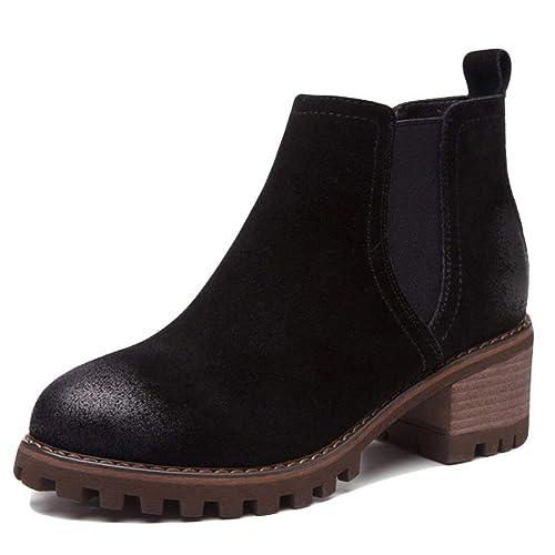 Botines Planos para Mujer Scrub Thick Heel Martin Shoes Botines Chelsea De Ante Antideslizantes Botas Cortas De Viaje Al Aire Libre: Amazon.es: Zapatos y ...