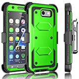 J3 Emerge / J3 Prime Case, Samsung Galaxy J3 Mission / J3 Eclipse / Express Prime 2/ Amp Prime 2/ J3 Luna Pro Holster Clip, Tekcoo [Tshell Green] Locking Belt Swivel [Built-in Screen] Kickstand Cover