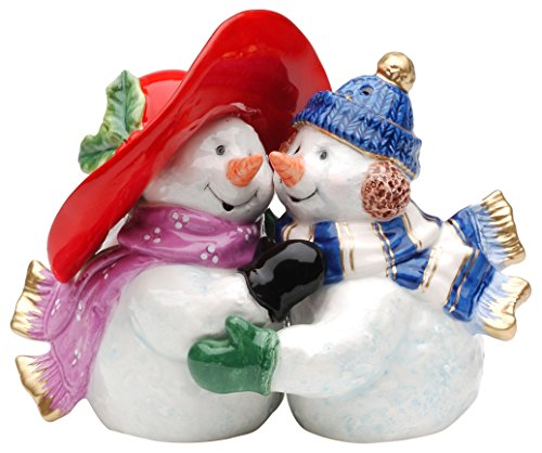 Ceramic Snowman - Cosmos Gifts 56515 Snowman Couple Salt and Pepper Set, 3-1/2-Inch