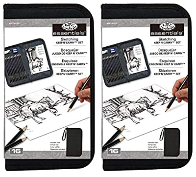 2-Pack - Drawing and Sketching Pencil Set in Zippered Carrying Case