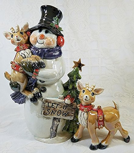 Ceramic Snowman with reindeers (2 piece set)