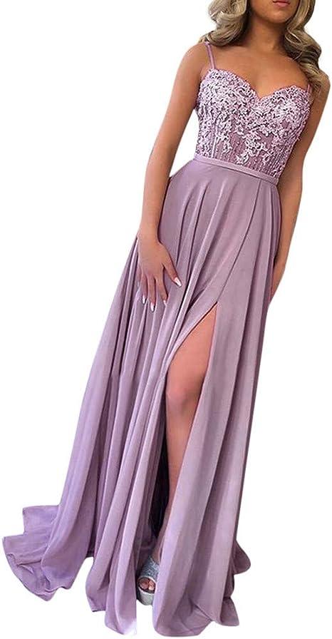 Damen Brautjungfer Maxi Kleid Spitze Ball Abendkleid formale Hochzeit Slit Dress