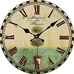 Grazing 10 Vintage Roman Numeral Green Tree Design Rustic Country Style Wooden Decorative Round Wall Clock (Nature)