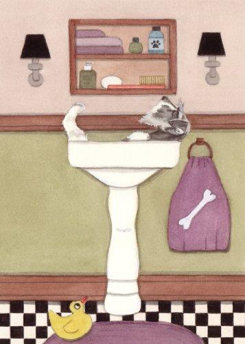 Lynch Schnauzer Fills Sink at Bath time Signed Folk Art Print