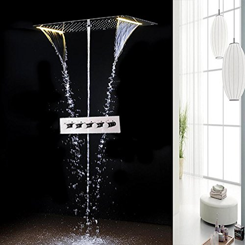 Gowe 5 Function Recessed Ceiling LED Shower Set Bathroom Accessories 700380mm Electric Shower Rainfall,Waterfall,Misty,Water Column 1