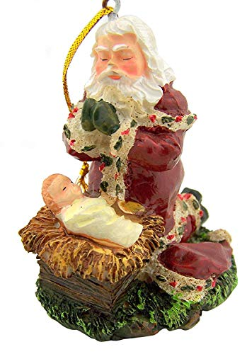 CB Beautiful Adoring Santa Christmas Tree Hanging Ornament. Full Color Kneeling Santa Claus with Baby Jesus Christ Seasonal Holiday Decorations
