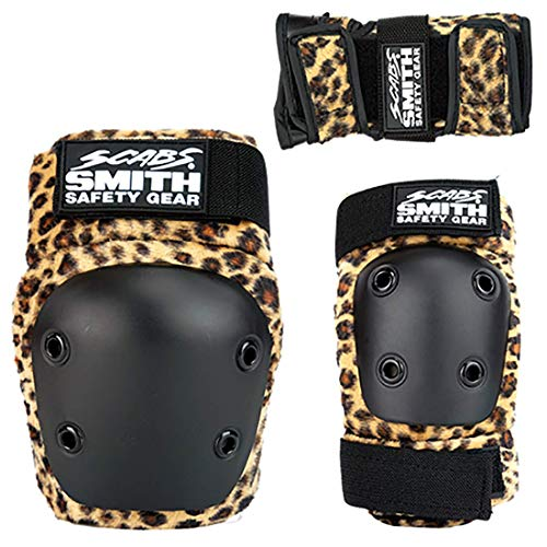 Smith Safety Gear Scabs Knee/Elbow/Wrist Guard Set (Pack of 3), Leopard, One Size