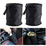 2 Pack Car Trash Can, Universal Traveling Portable Garbage Bin, Collapsible Pop-up Water Proof Bag, Waste Basket Bin, Rubbish Bin,Outdoors Camping Recycling and More
