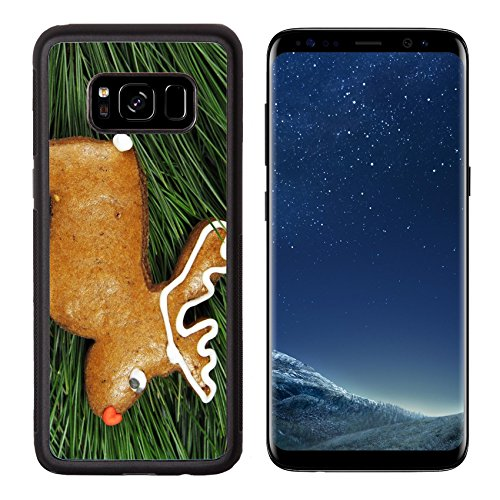 Luxlady Premium Samsung Galaxy S8 Aluminum Backplate Bumper Snap Case IMAGE ID: 34619133 homemade reindeer gingerbread on fir tree