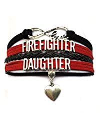 DOLON Infinity Love Firefighter Daughter Bracelet Heart Charm Leather Braid Wrapped Birthday Gift