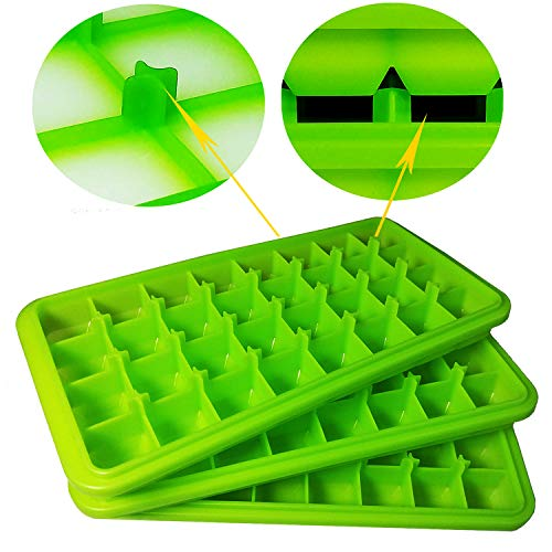Foods Cub - Stackable Ice Cube Trays Silicone Molds 3-Pack Nugget for Drinks, Baby Food Freezer Non Toxic Rubber Ice Cub Square Icetrays Unique No Odor No Aftertaste No White Film