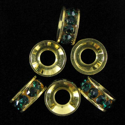 - buyallstore 6 10mm Gold Plated Rhinestone rondelle Beads Green findings
