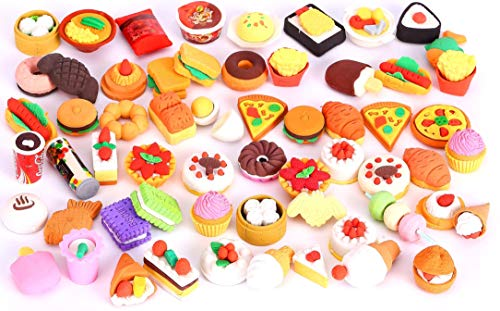 Collectible Erasers - 30 PCs Joanna Reid  Collectible Set of Adorable Puzzle Sweet Dessert Food Cake Erasers for Kids - No Duplicates - Puzzle Toys Best for Party Favors-Treasure Box Items for Classroom