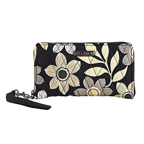 Quilted Checkbook Cover - Black Estelle Accordion Wristlet Wallet