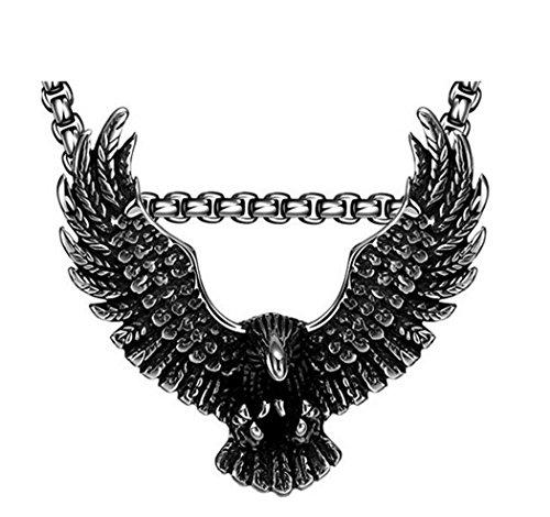 PAMTIER Men's Titanium Steel Domineering Soaring Eagle Pendant Necklace Silver Black No Chain