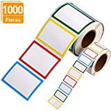 Blulu 1000 Pieces Name Tag Stickers Self-Adhesive Name Labels for Jars Bottles Kids Clothes Party and School, 4 Colors, 2 Sizes