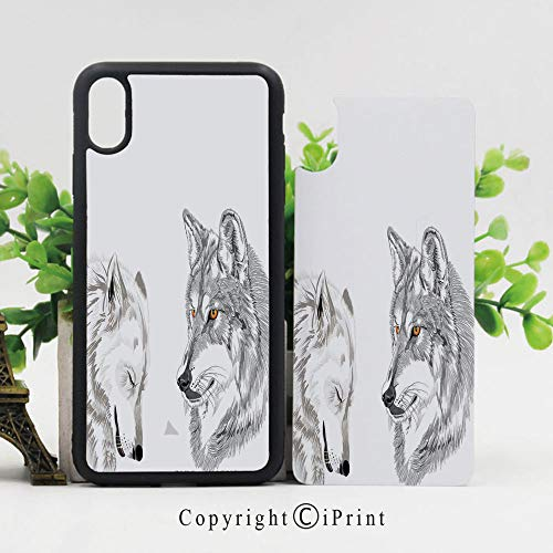 Unique Case for iPhone X, 5.8 inches,Two Wolf Portraits Sleeping Hunting Carnivore Animals Nature Wildlife Theme Decorative [Flexible Back+Soft TPU Bumper] [Extra Shock Absorption Corner],Beige -