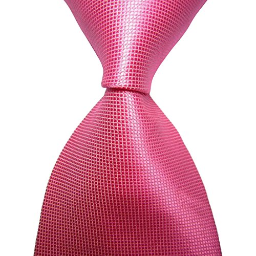 KissTies Mens Hot Rosy Pink Tie Solid Pure Color - Pink Color Male