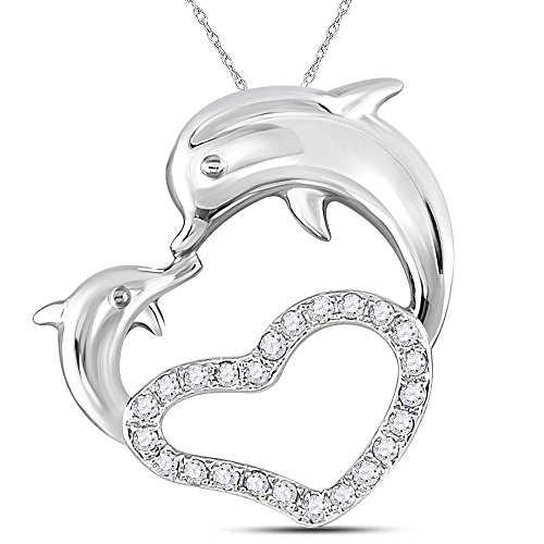14kt White Gold Womens Round Diamond Double Dolphin Heart Pendant 1/6 Cttw (I2 clarity; I-J color) 14k Gold Double Dolphins Pendant