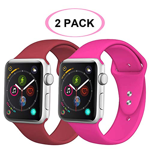 R-Fun Compatible with Apple Watch Band 40mm 38mm 44mm 42mm, Soft Silicone Sport Replacement Wristband for iWatch Series 4, Series 3, Series 2, Series 1 (Barbie Pink + Wine Red, 42mm/44mm s/m) ()